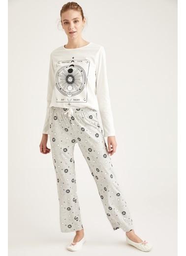 Defacto –Fit Luna Moon Baskılı Uzun Kollu Pijama Takımı Gri